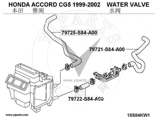 supply coolant pipe 79725-s84-a00  for honda